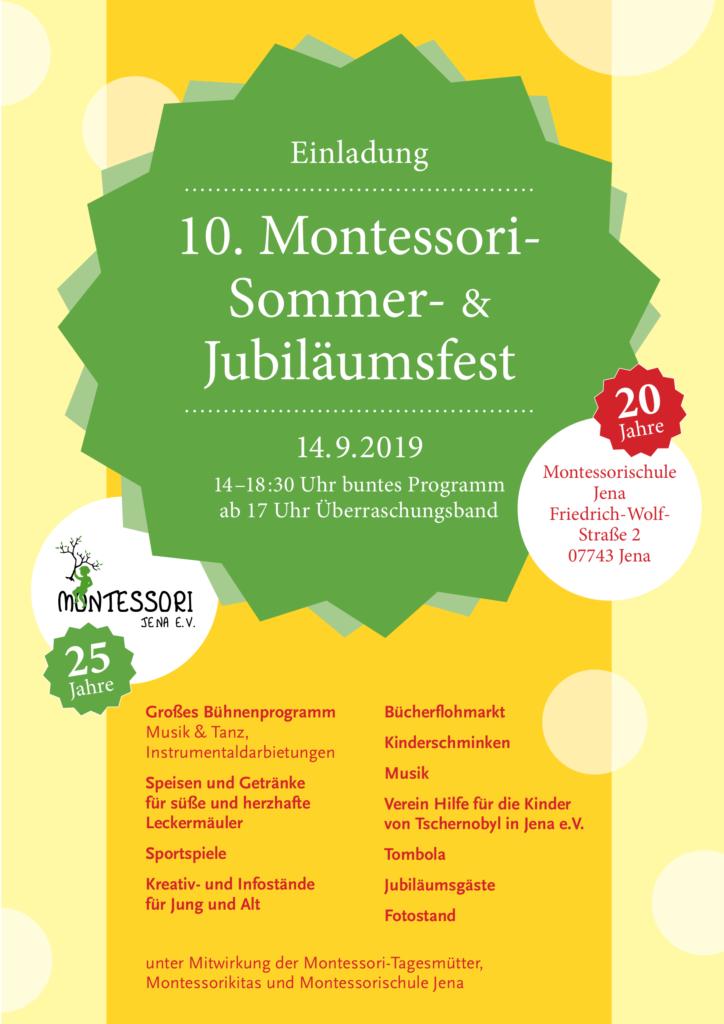 Einladung zum 10. Montessori-Sommerfest am 14.09.2019